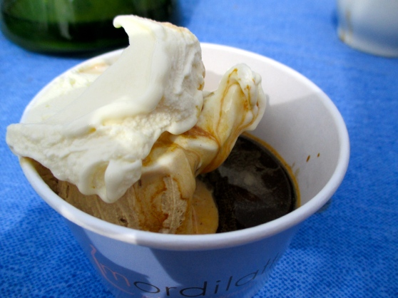 Mascarpone and caffè gelato with a shot of coffee